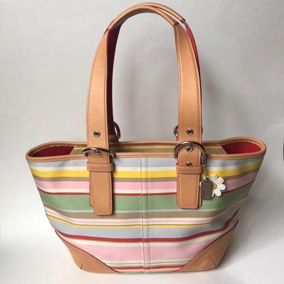 Coach Handbags - Coach striped bucket bag🌟💖🌟